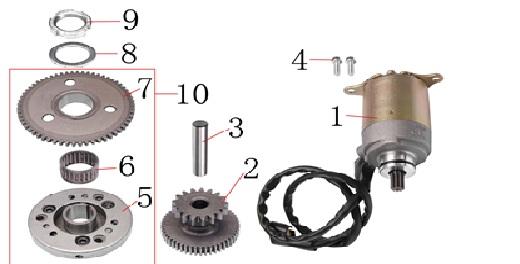 125cc 150 electric starter starter clutch assembly125cc Clutch Diagram #9
